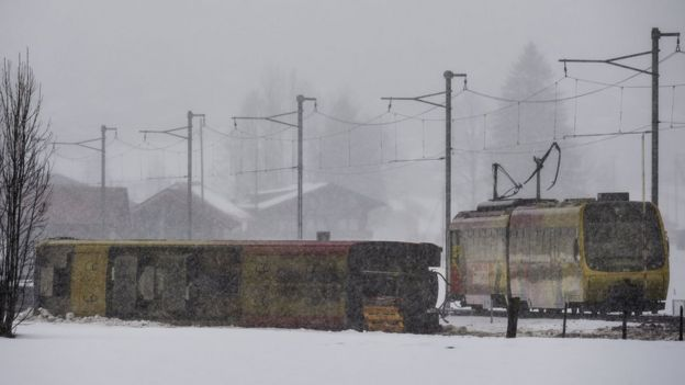 Derailed train near Lenk, in Switzerland, on 3 January 2018