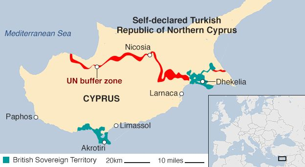 Cyprus peace talks begin on future of divided island bbc news map of cyprus showing the turkish and cypriot sides gumiabroncs Image collections
