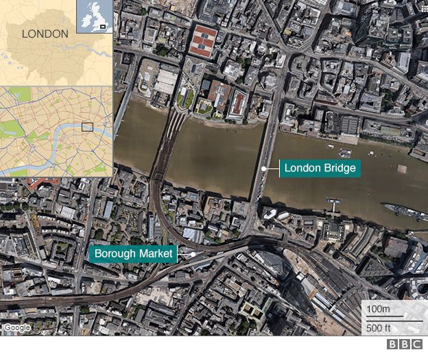 Map of London Bridge and Borough Market