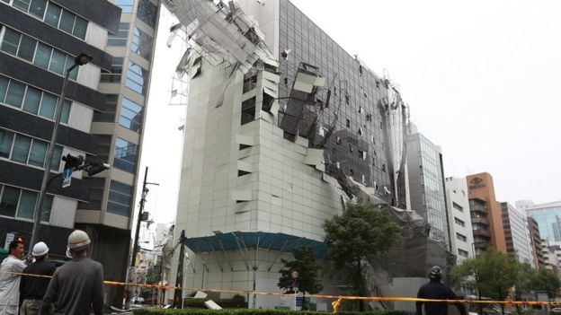 Building in Osaka with windows and cladding torn off