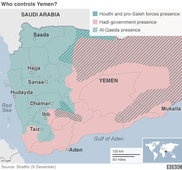 Map of Yemen showing presence of rebel, government and al-Qaeda forces