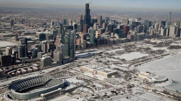 La ciudad de Chicago con una nevada