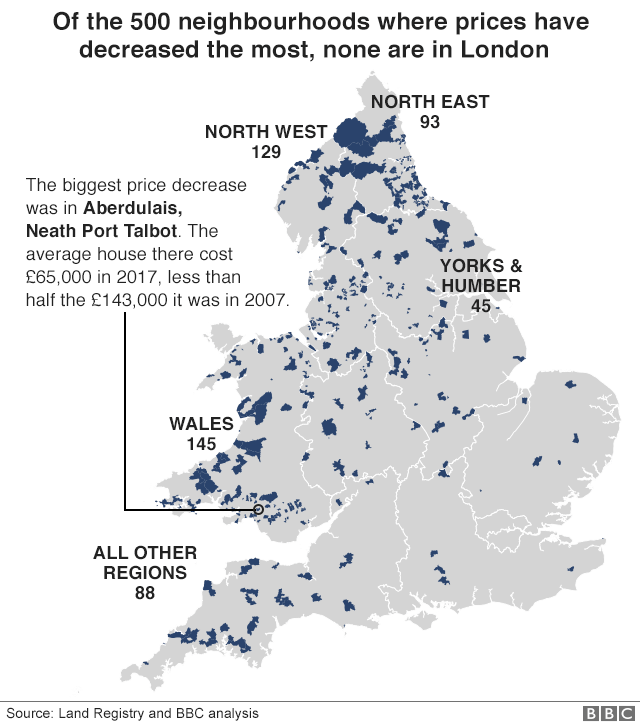 Map showing that of the 500 neighbourhood where house prices have decreased the most, none are in London