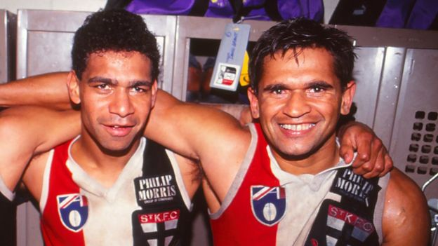 Nicky Winmar and Gilbert McAdam in 1990