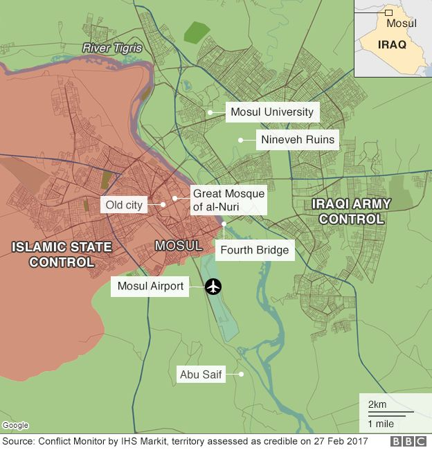 Map showing control of Mosul, Iraq (27 February 2017)
