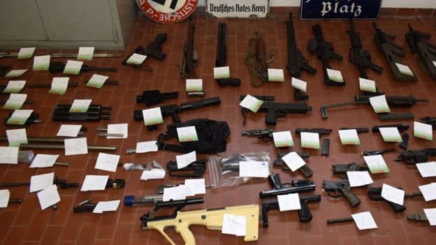 Guns and ammunition seized by Italian police