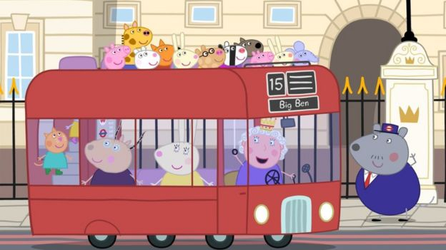 A London bus with Peppa Pig characters