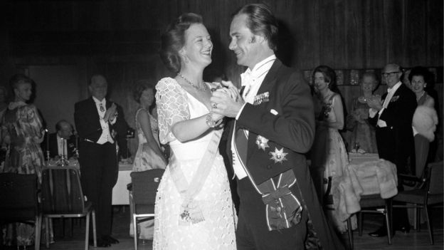 "Queen Margrethe of Denmark opening the dancing with her husband, Prince Henrik of Denmark, at the Anglo-Danish Society""s Jubilee dinner on 7 May 1974"