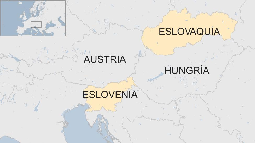 Mapa Eslovaquia, Eslovenia