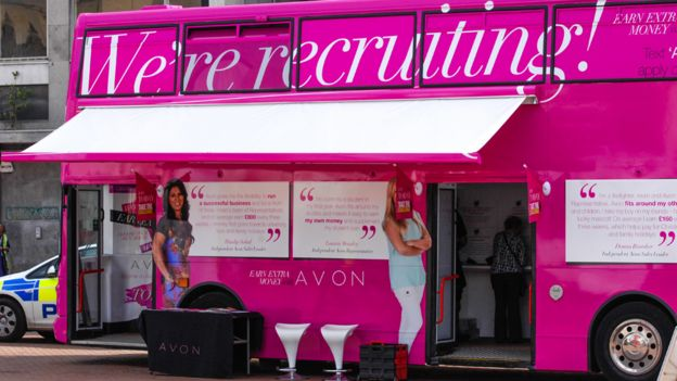 d49088573 Avon cosmetics franchise networking business - bus recruiting new  representatives in Northampton