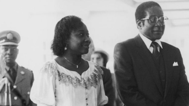 Robert Mugabe, the Prime Minister of Zimbabwe, visits the Queen at Buckingham Palace with his wife Sally, 20th May 1982.
