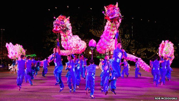 Chinese dragon dancers perform at the Royal Edinburgh Military Tattoo