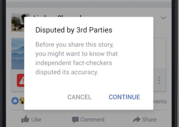 A screenshot of how Facebook's fact-checking system appears to users in the US and Germany