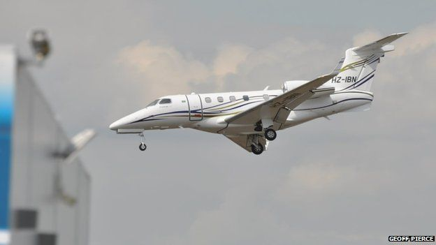 The Embraer Phenom 300 just before it crashed at Blackbushe Airport
