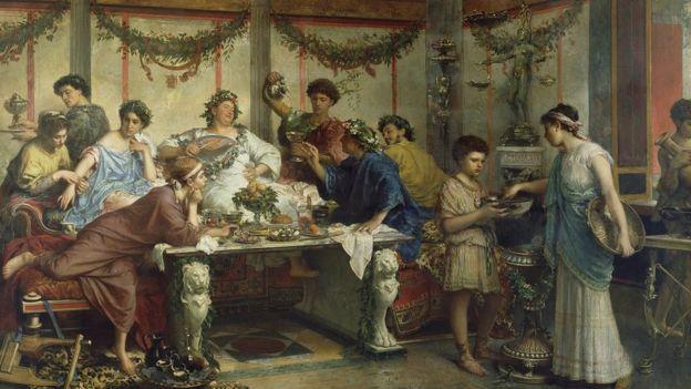 Romalıların Saturnalya kutlamasını betimleyen bir resim