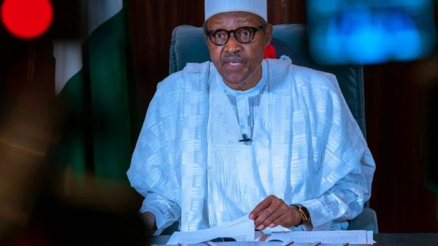 Nigerian President Muhammadu Buhari addresses the nation on 27 April 2020