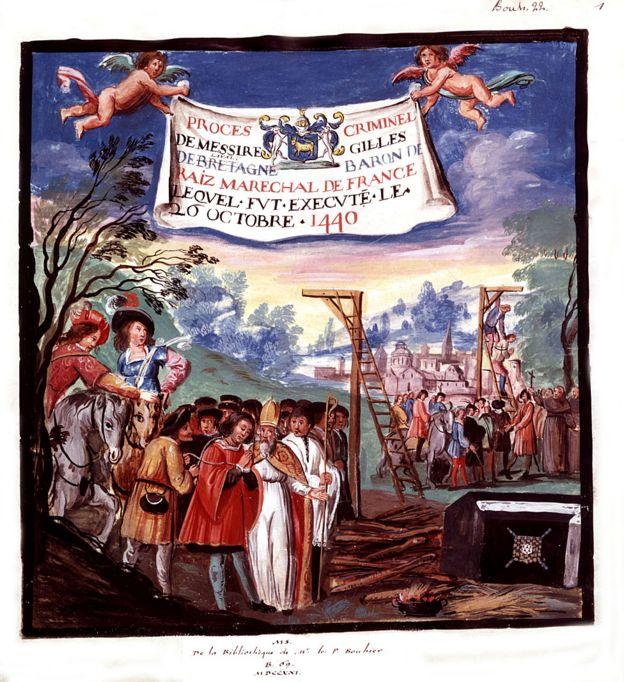 Ejecución de Gilles de Rais, 1440.