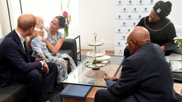 The Duke and Duchess of Sussex and their son Archie with Archbishop Desmond Tutu and his daughter Thandeka