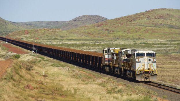 A train taking iron ore from the Pilbara region to the coast of Western Australia