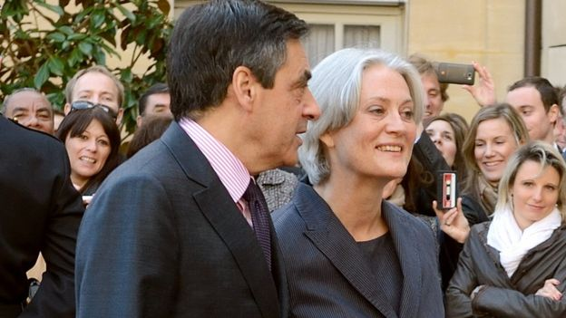 Francois Fillon and his wife Penelope in 2012 at the Hotel Matignon in Paris
