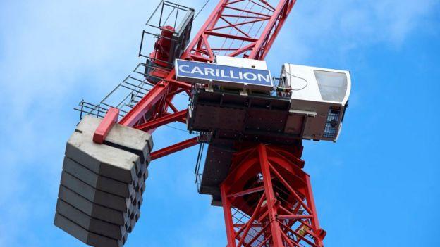 A crane bearing the Carillion logo