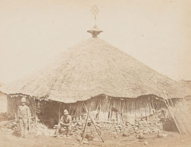 V&A Museum, Maqdala 1868 display: Maqdala church photograph by the Royal Engineers, Albumen print