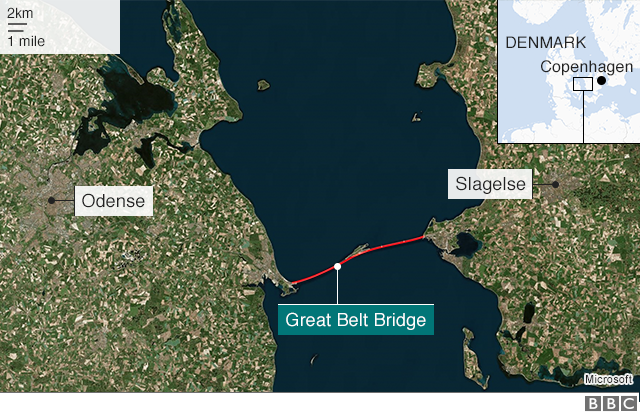 Map of Denmark showing the Great Belt Bridge