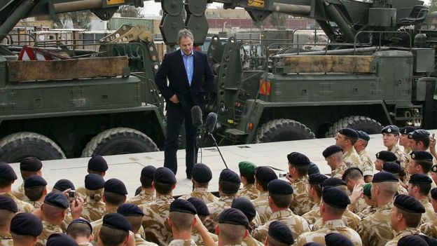 Tony Blair British addressing troops in Basra, Iraq, in 2005.