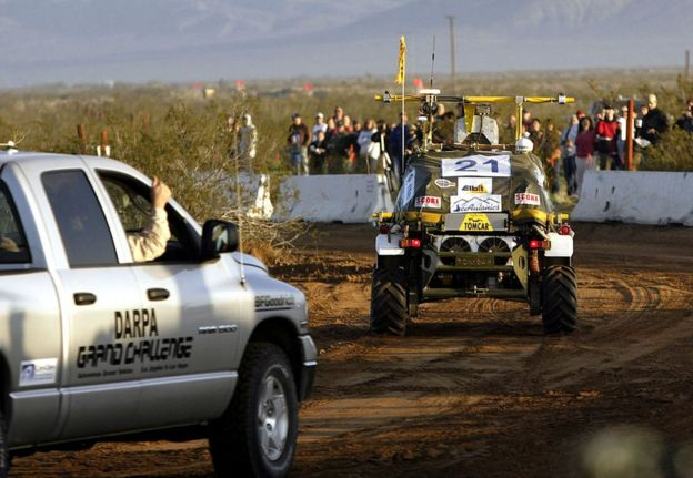 Some of the vehicles which took part in the 20004 Darpa Challenge
