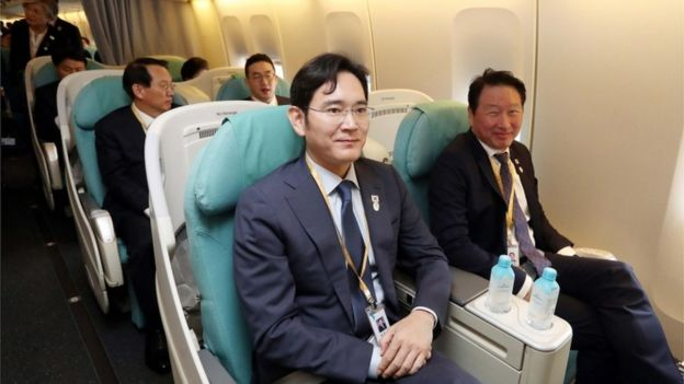 Samsung heir Jay Y Lee and other South Korean businessmen on the plane to Pyongyang