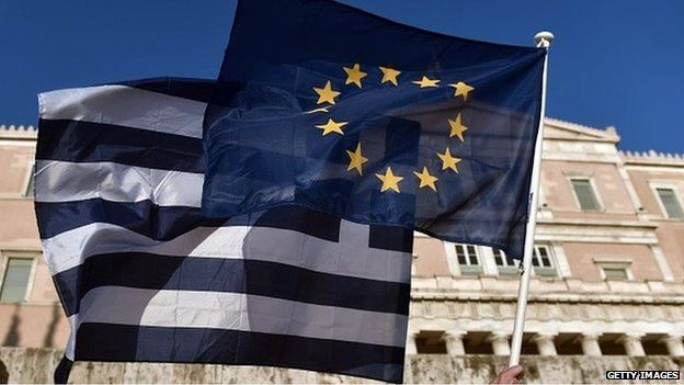 Greece and EU flags held aloft in front of the Greek parliament building