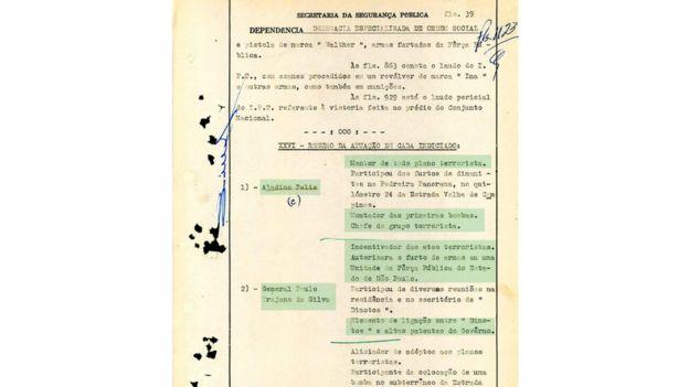 Documentos armazenados no Superior Tribunal Militar mostram a investigação policial sobre a participação de militares em atentados à bomba