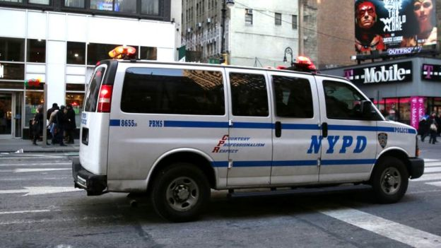 A NYPD van pictured in New York