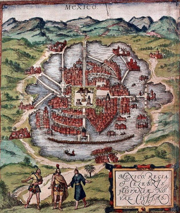 Este dibujo muestra México-Tencochitlan a principios del siglo XVI. Está probablemente basado en un boceto de Cortés de 1524. Se encuentra en el Museo Británico de Londres.