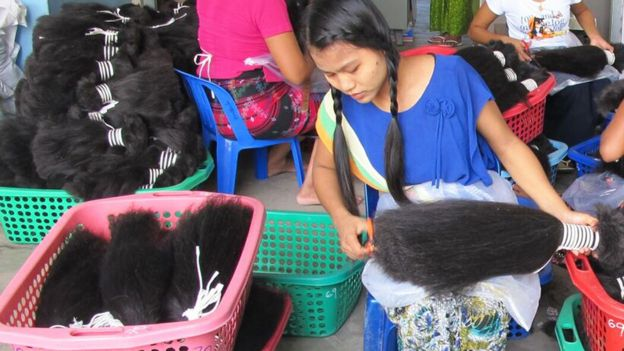 ... Women in Myanmar painstakingly sort hair in to bunches of similar  lengths 213446ae57