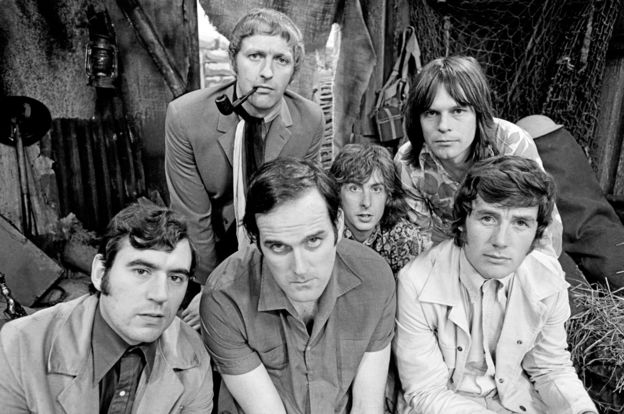 Jones (left) with fellow Monty Python stars Graham Chapman, John Cleese, Eric Idle, Terry Gilliam and Michael Palin