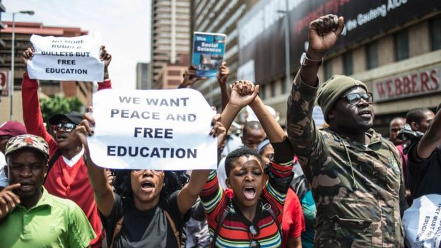 South African students protesting