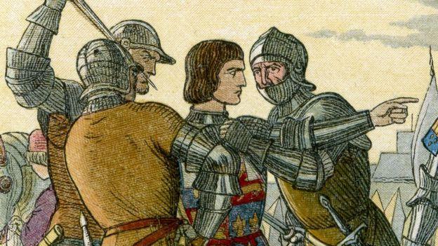 Ilustração colorida de uma cena na Idade Média, com um homem sendo contido por outros três