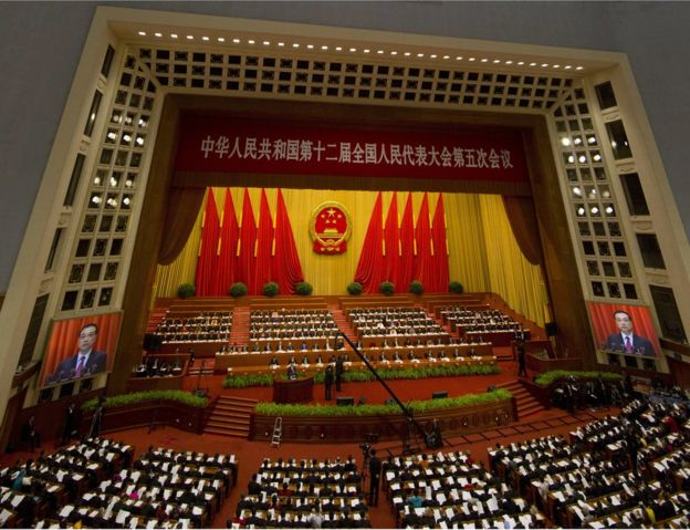 The annual National People's Congress at Beijing's Great Hall of the People, 5 March