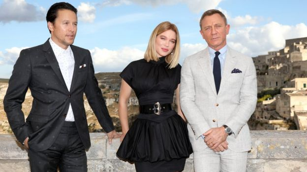 Cary Joji Fukunaga with James Bond stars Lea Seydoux and actor Daniel Craig