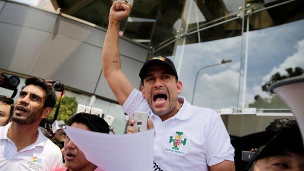 O presidente do Comitê Cívico de Santa Cruz, Luis Fernando Camacho