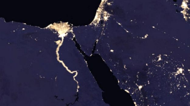 Composite image of Nile River and surrounding region at night in 2016 (c) NASA Earth Observatory images by Joshua Stevens, using Suomi NPP VIIRS data from Miguel Román, NASA's Goddard Space Flight Center