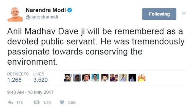 Anil Madhav Dave ji will be remembered as a devoted public servant. He was tremendously passionate towards conserving the environment.