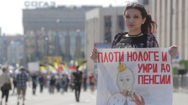 protester holds up a banner in Moscow