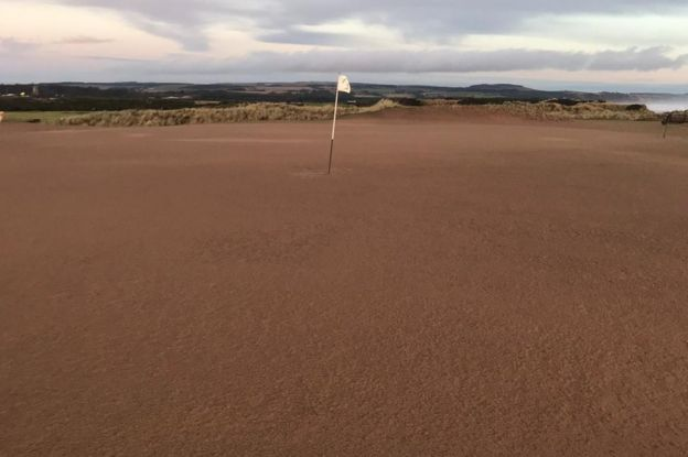 Gold course covered in sand