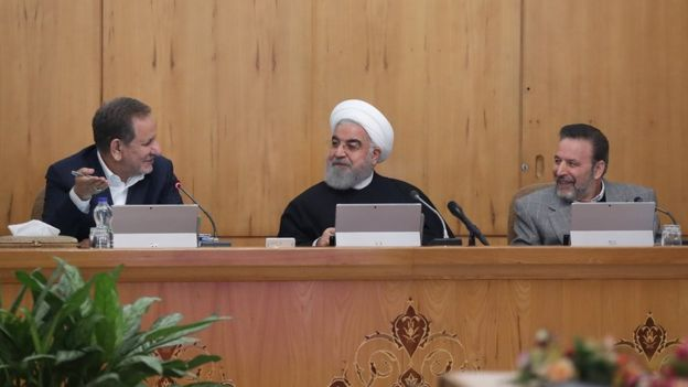 Iranian President, Hassan Rouhani (C) makes statements on the ongoing protests across Iran against petrol price increases, after the Council of Ministers meeting, in Tehran, Iran on November 20, 2019.