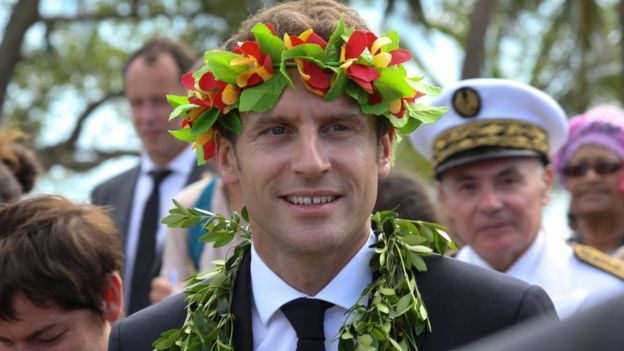 French President Emmanuel Macron takes part in a welcome ceremony in Ouvéa island in New Caledonia on May 5, 2018