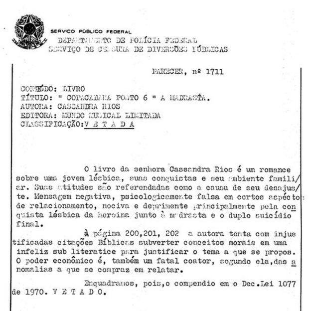 Documento oficial mostra parecer de censor vetando livro de Cassandra, 'Copacabana Posto 6'