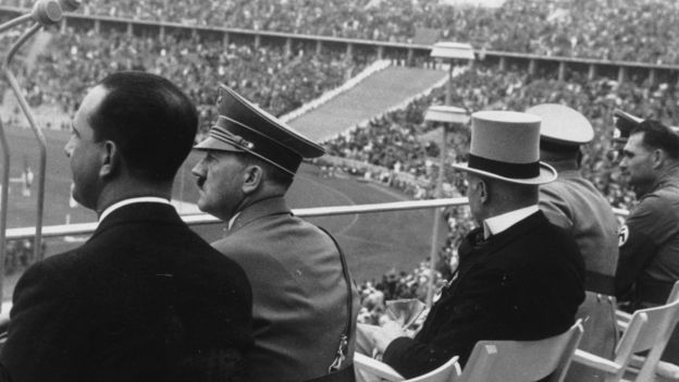 Adolf Hitler watching the 1936 Olympics