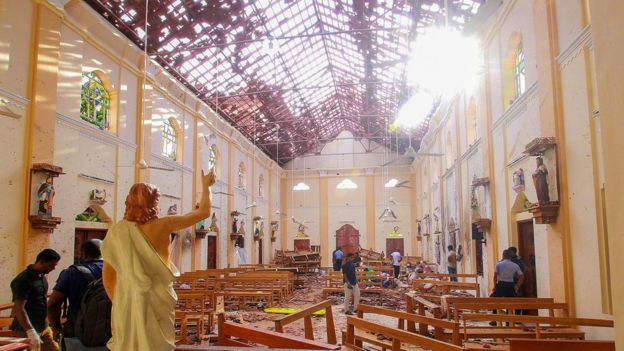 Blast damage at St Sebastian's Church in Negombo.